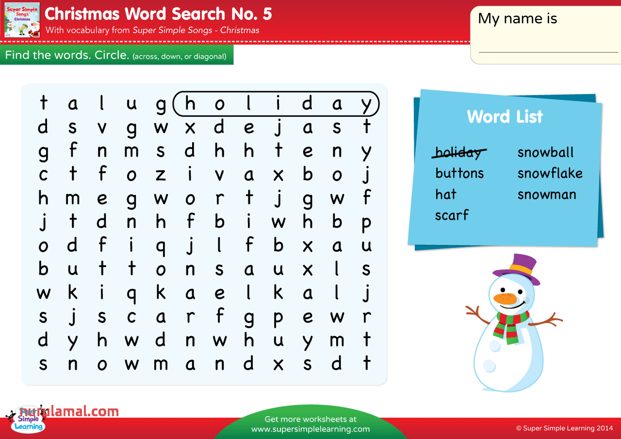 Christmas Word Search 5 Super Simple