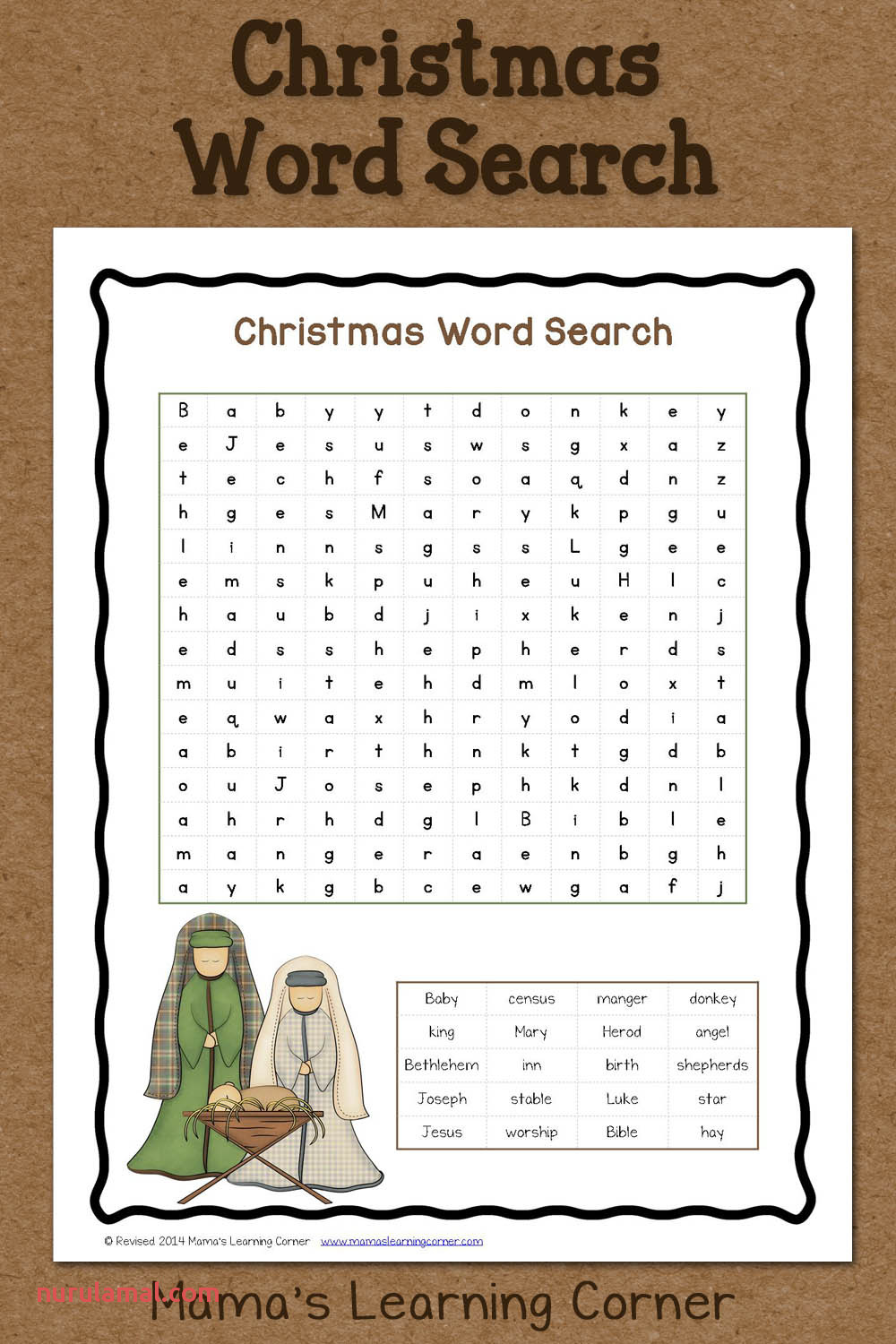 Christmas Word Search Free Printable Mamas Learning Corner