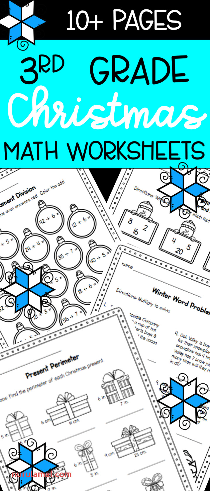 Christmas Worksheets Math Practice Pages for 3rd Graders