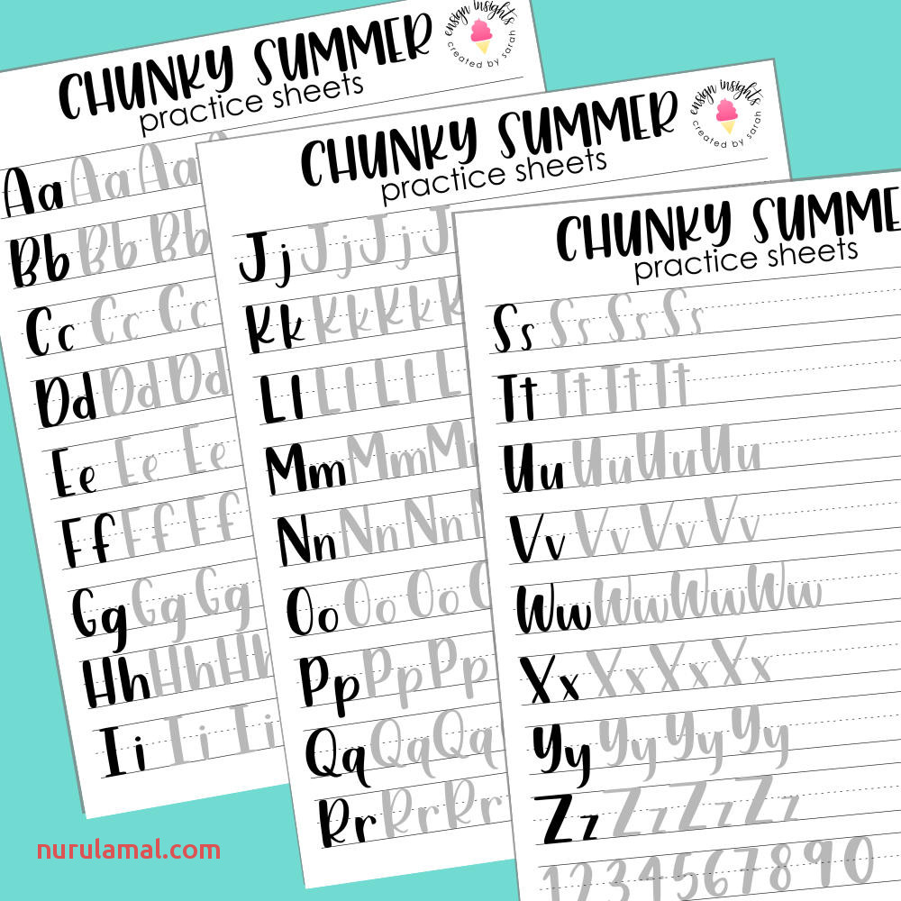 Chunky Summer Print Style Hand Lettering Practice Sheets Brush Lettering Lettering Practice Large and Small Brush Pens Numbers