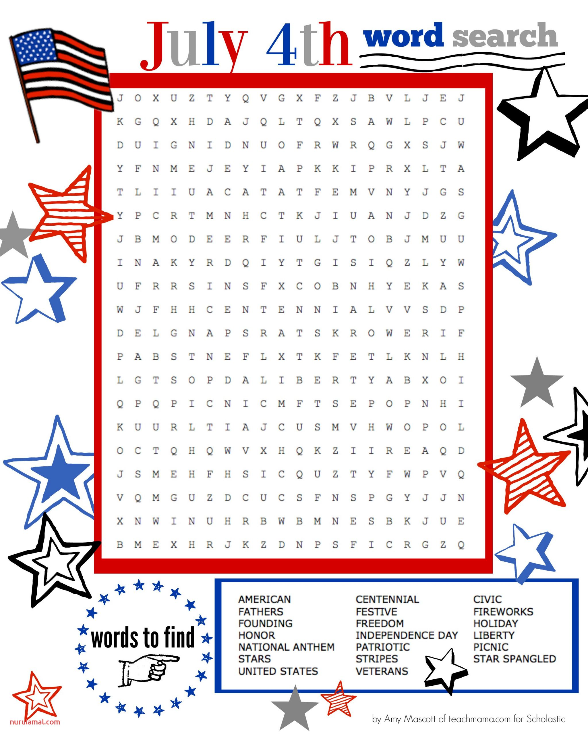 super star celebration july 4th word search printable