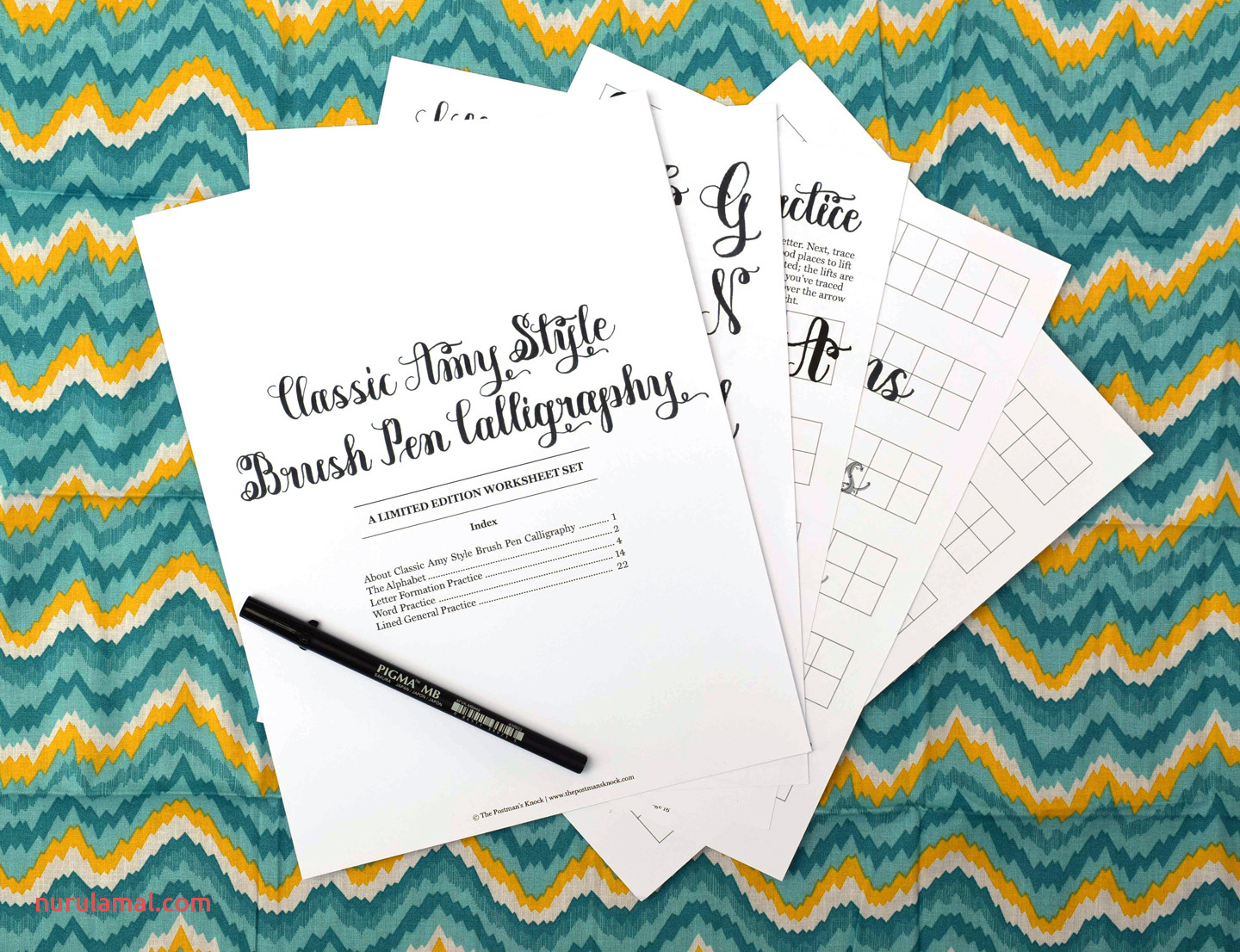 Classic Amy Style Brush Pen Calligraphy Worksheet Limited Edition Secret Link – the Postman S Knock