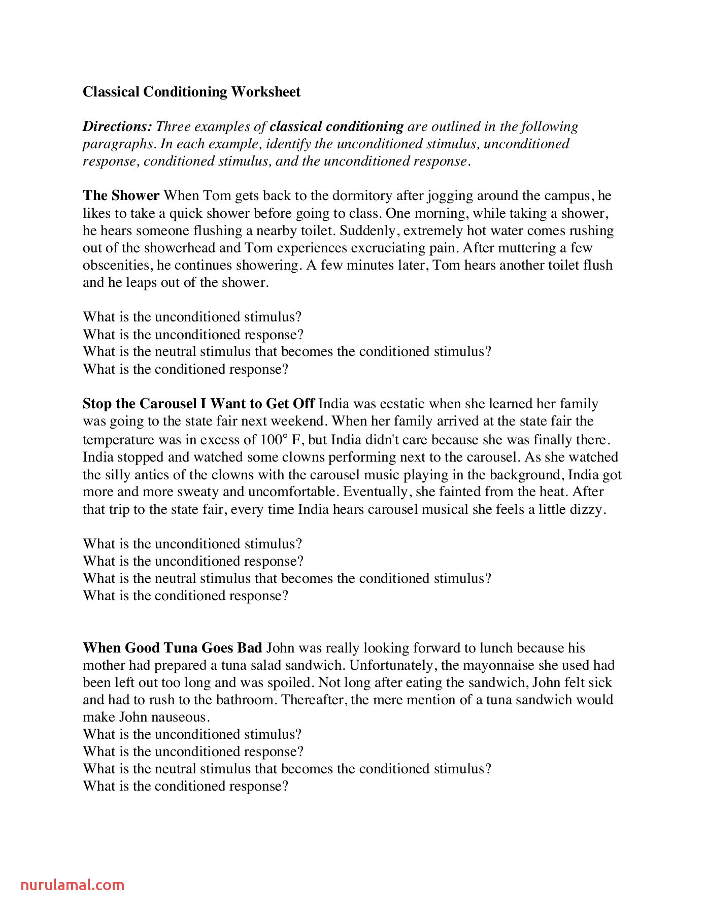 Classical Conditioning Worksheet 2 Lps Pages 1 4 Text