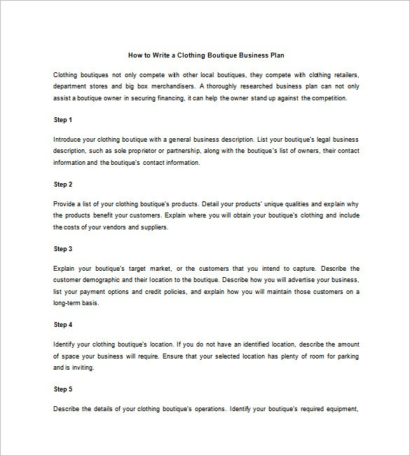 Clothing Business Plan Template Pdf Boisefrycopdx.com