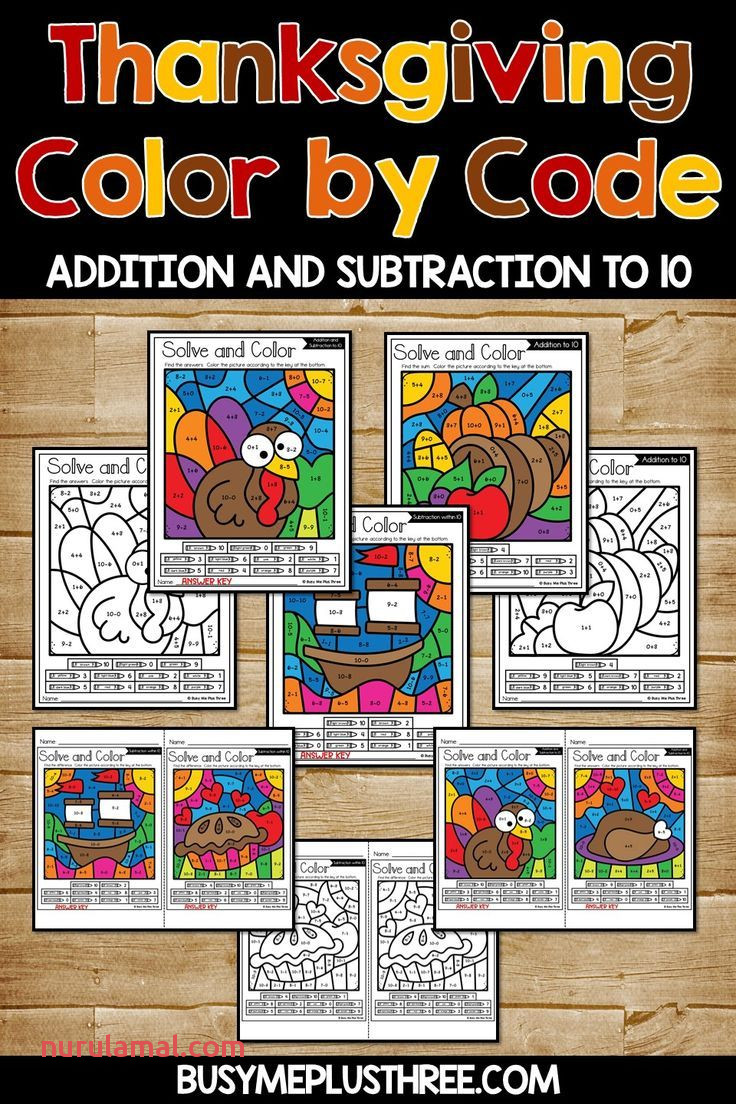 Color by Code Thanksgiving Activities Addition and