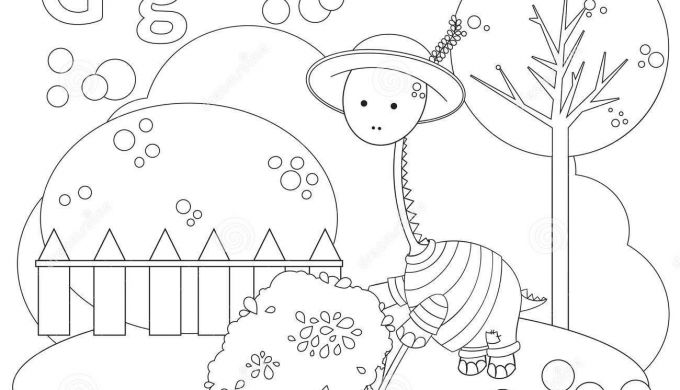 Coloring Page for Kids Alphabet Set Letter G Stock
