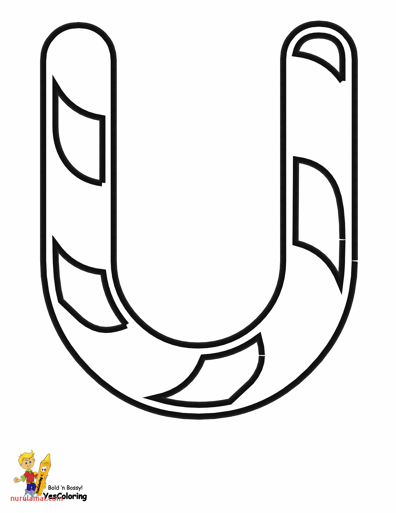 christmas candy cane alphabet coloring pages free letter U at yescoloring