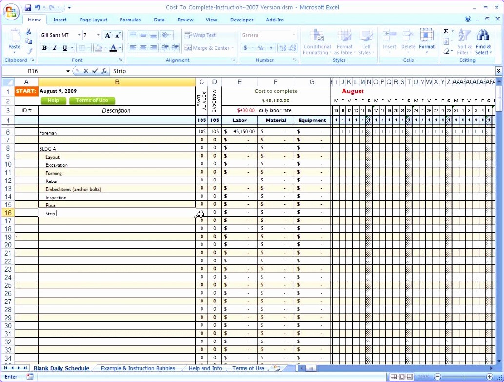 Construction Project Schedule Template Excel Free