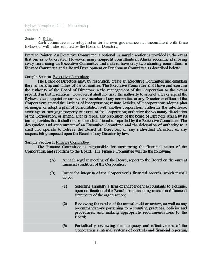 Corporate Bylaws Template Word For Nonprofit Organizations