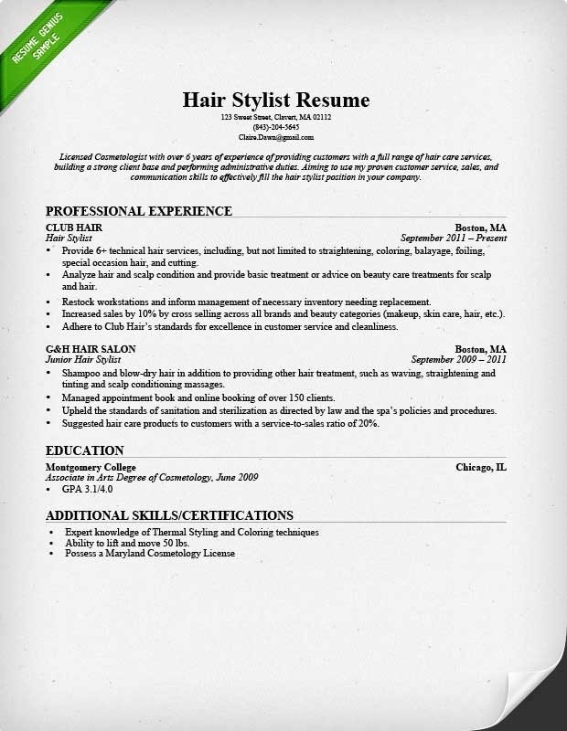 Cosmetologist Resume Sample Best Professional Resumes