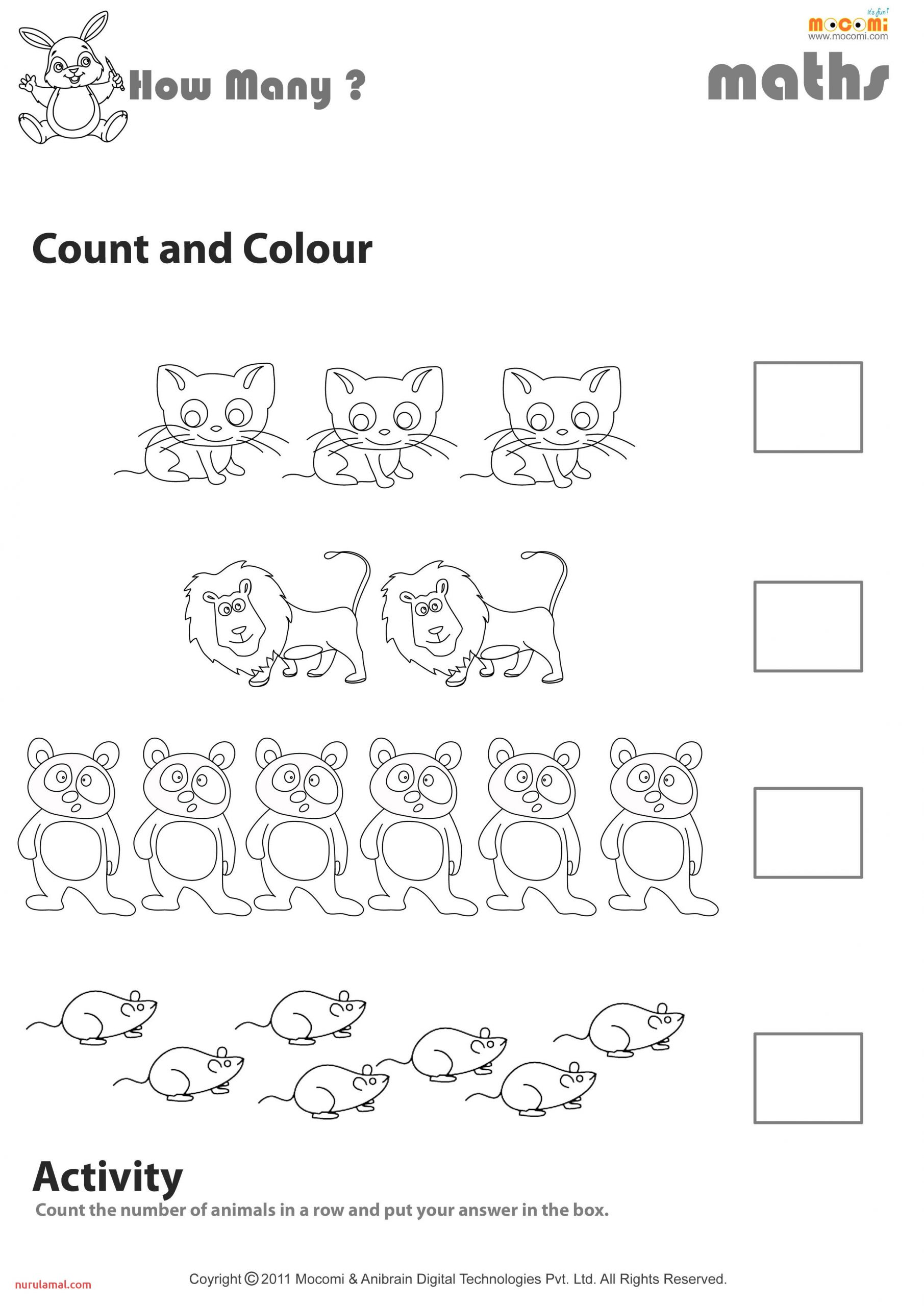Count and Colour Worksheet Mo I for Kids