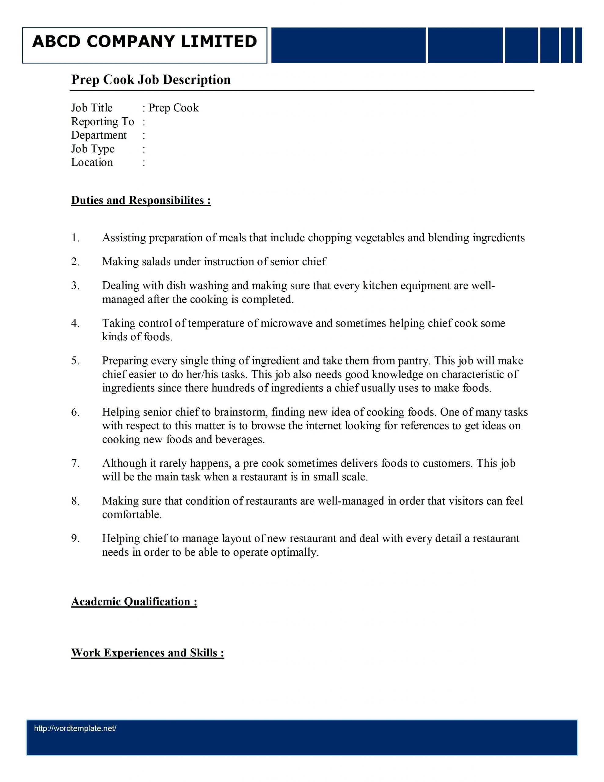 Cover Letter Prep Cook Resume Prep Cook Resume Examples