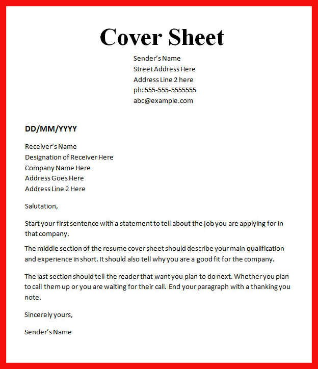 Cover Sheet Template Word Apa Example