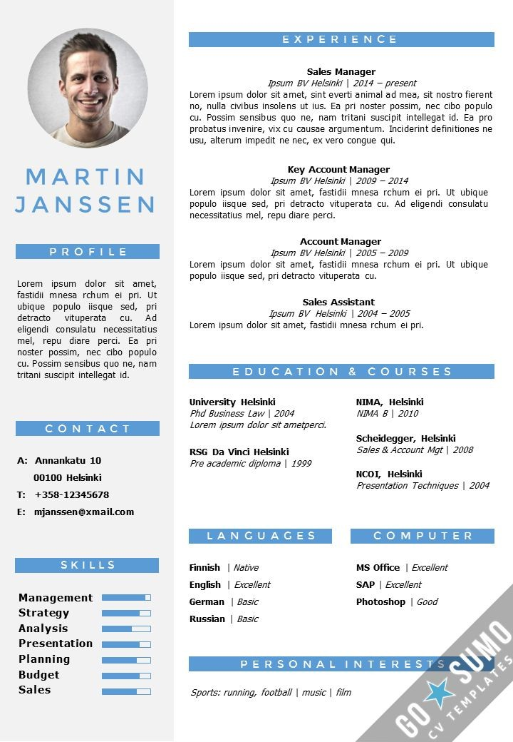Cv Resume Template In Word. Fully Editable Files. Incl Nd