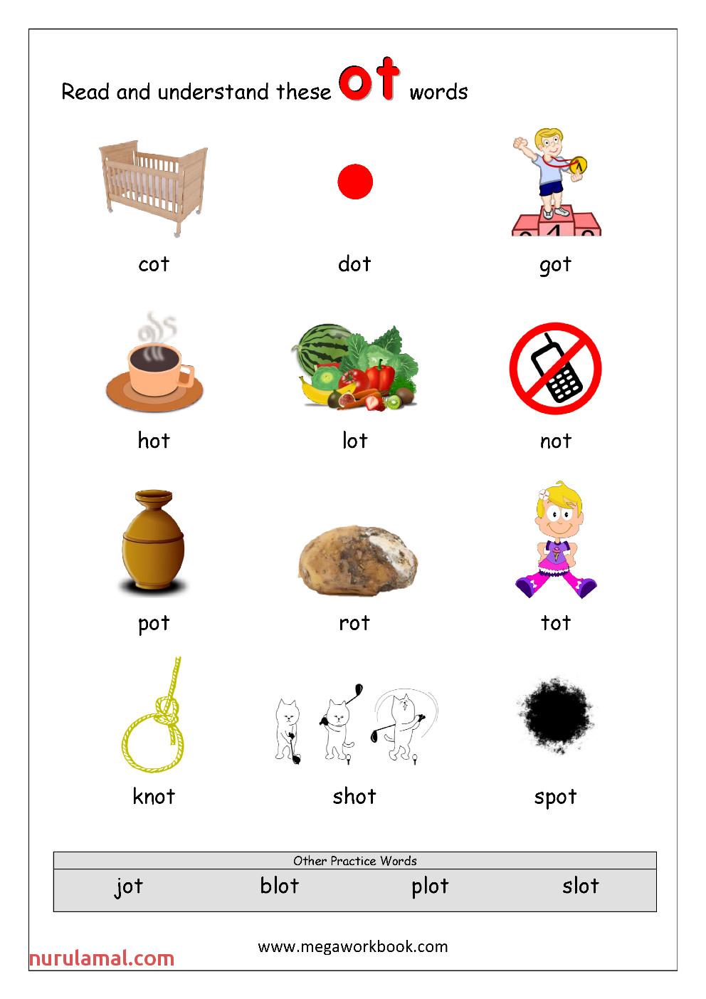 2 Rhyming Words Ending ot CVC Words Kindergarten Worksheet