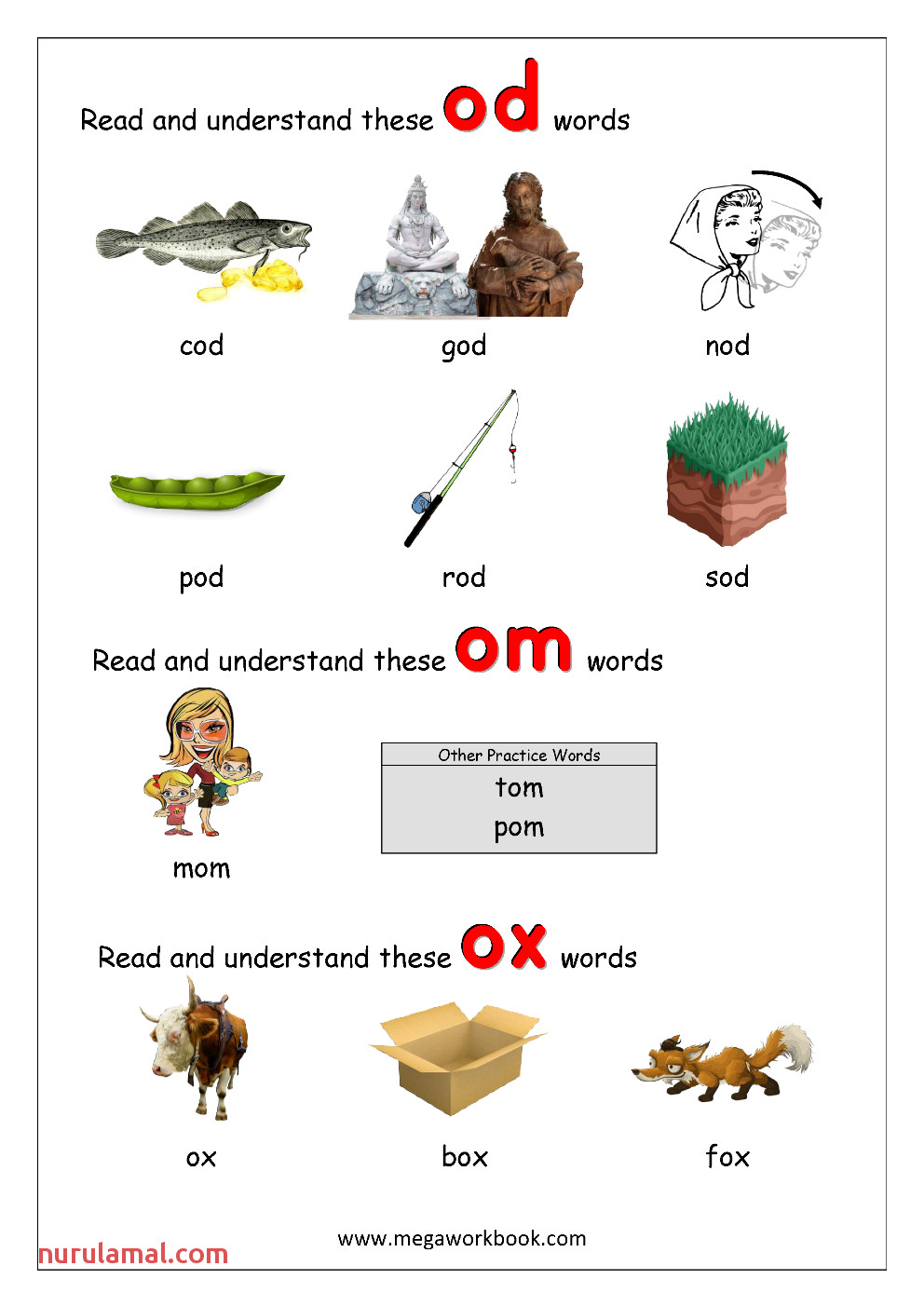 5 Rhyming Words Ending od om ox CVC Words Kindergarten Worksheet