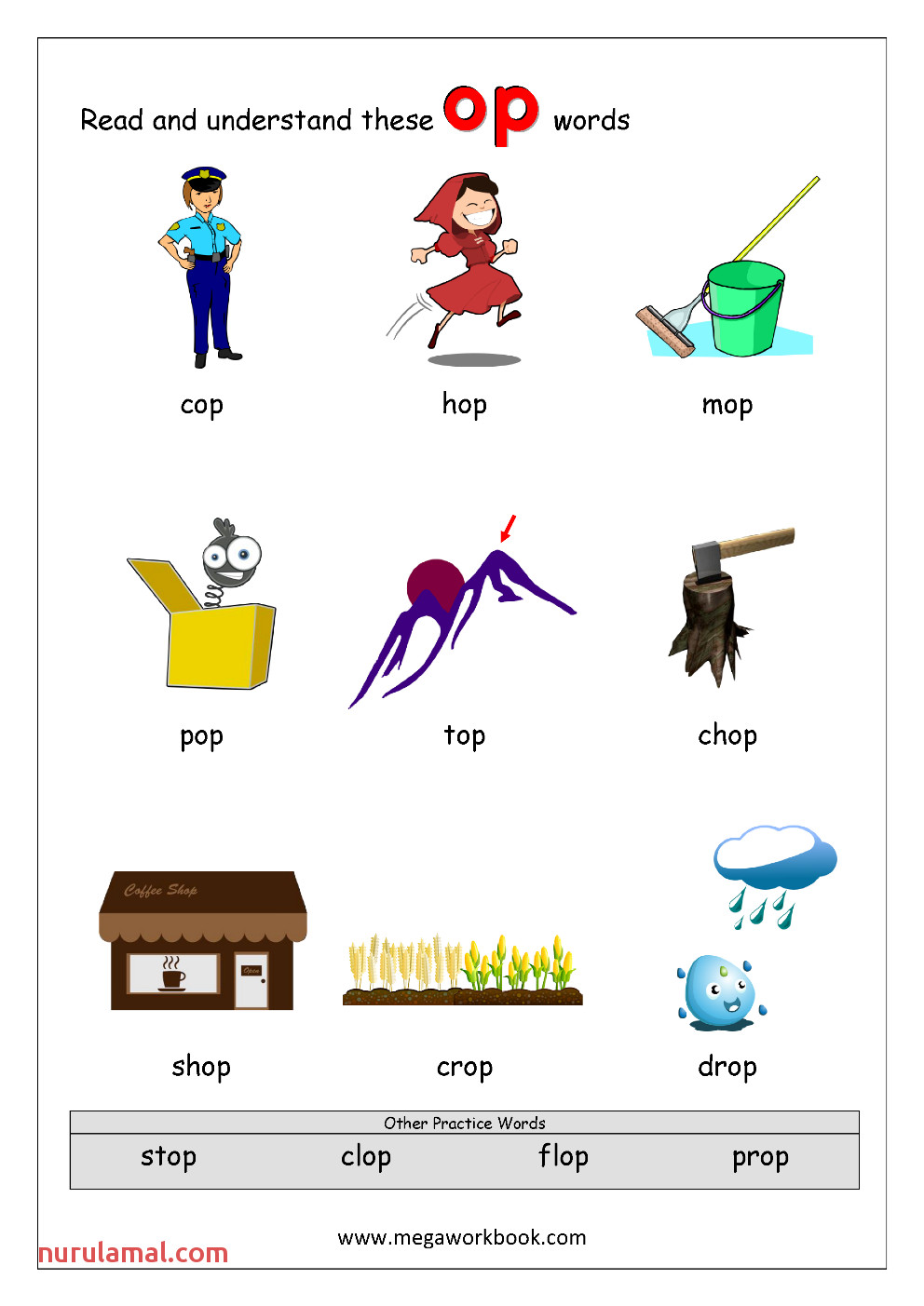 1 Rhyming Words Ending op CVC Words Kindergarten Worksheet