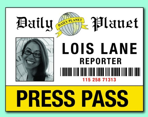 photograph relating to Clark Kent Press Pass Printable known as No cost Printable Thrust P For Lois Lane And Clark Kent