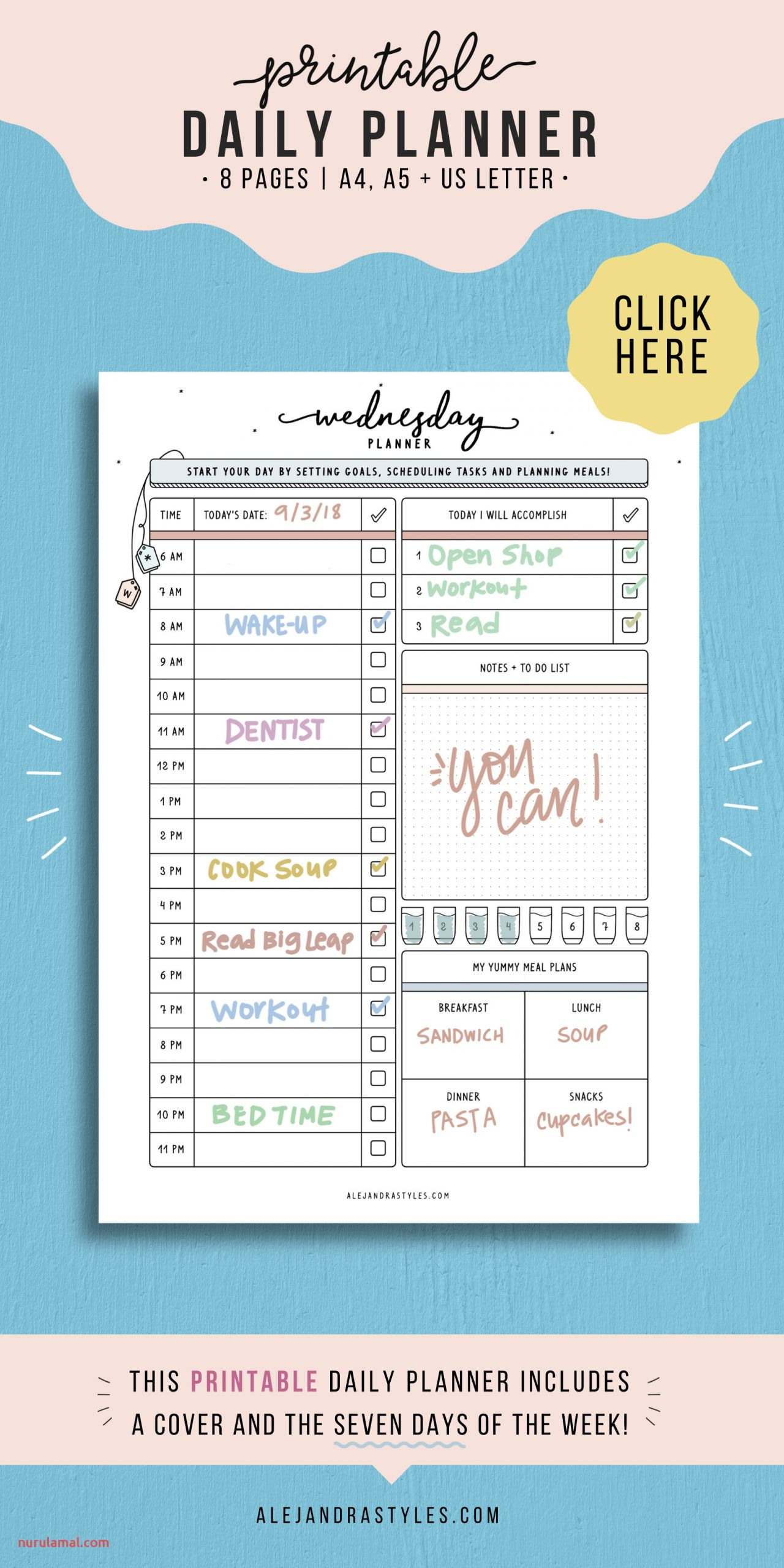 Daily Planner Printable Daily Hourly Planner Pages Inserts