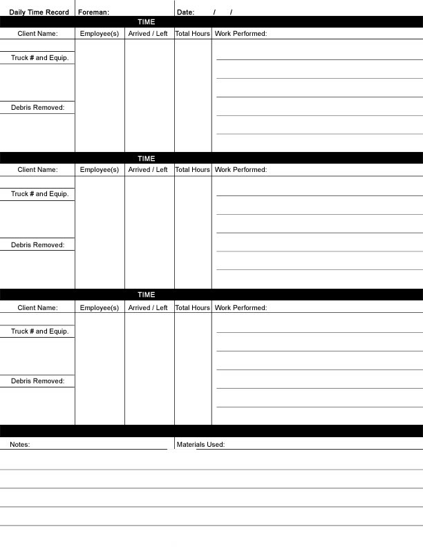 Daily Work Sheet For Employee