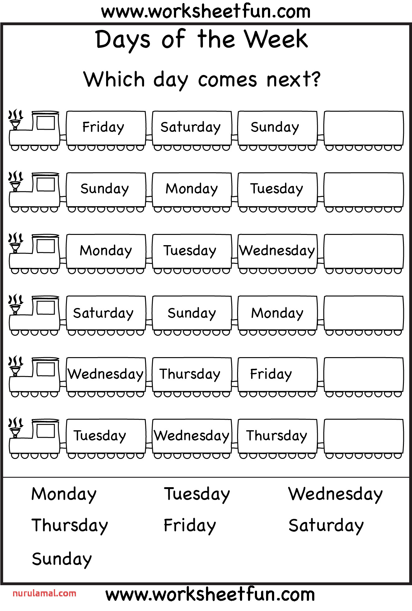 Days Of the Week Worksheet