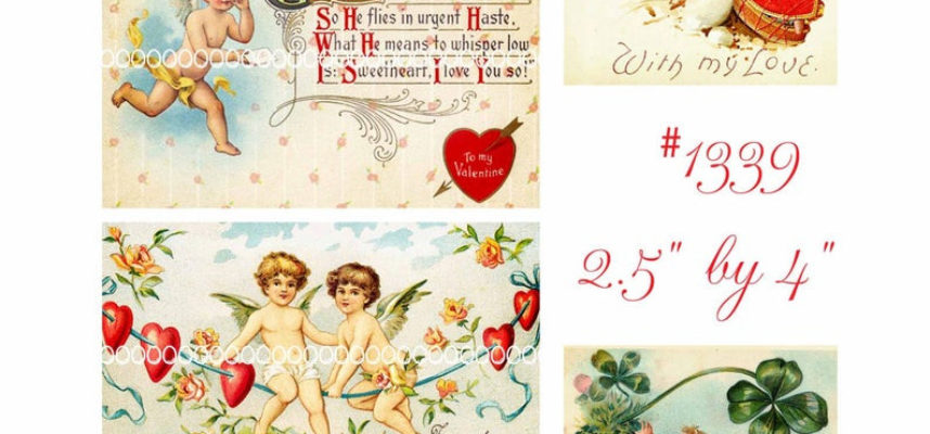 Digital Clipart Instant Vintage Valentine Cards Angels Cupids Cherubs Printable Digital Collage Sheet 8 5 by 11 Inches 1339
