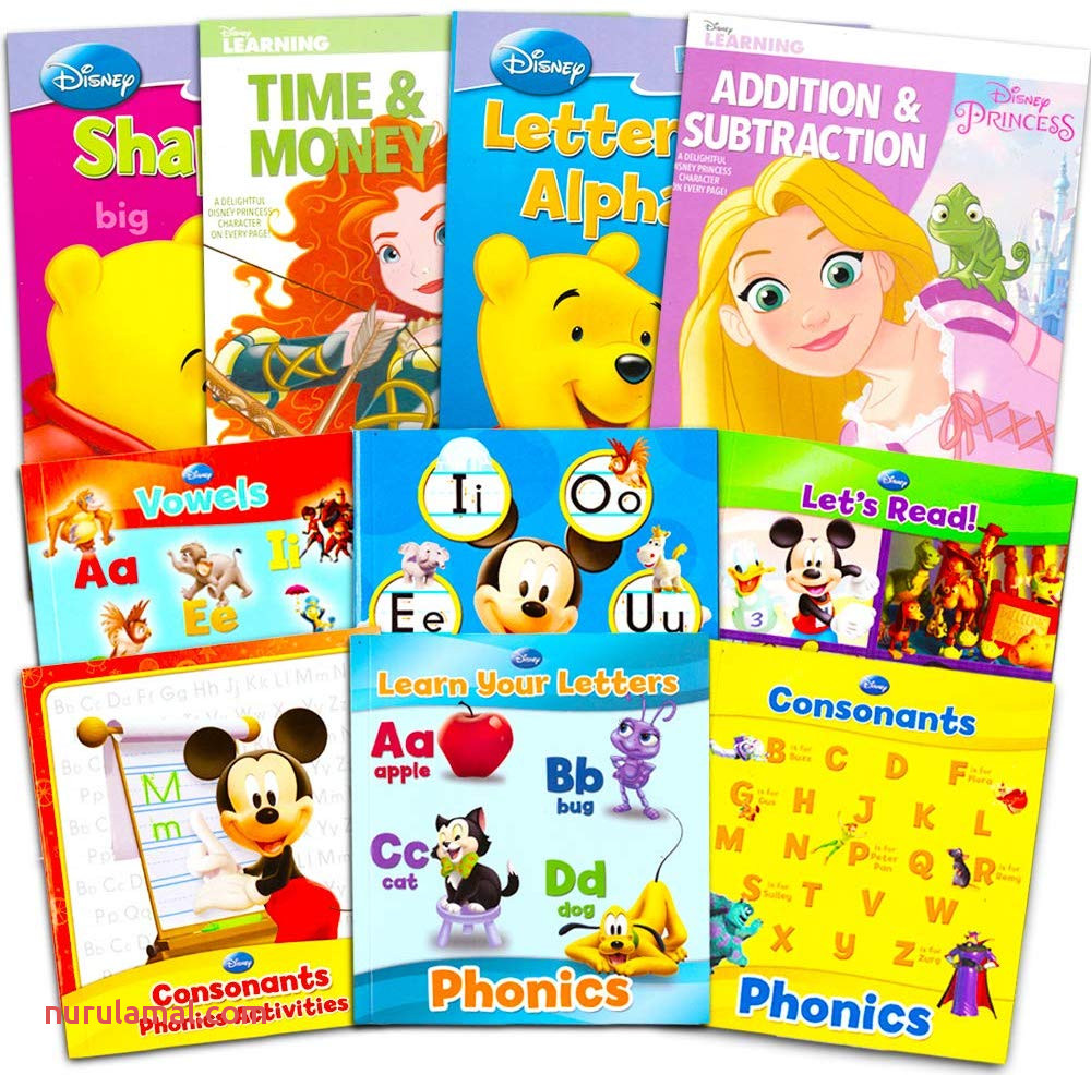 Disney Princess Activity Workbooks Set Of 4 Preschool Pre K Kindergarten 1st Grade Workbooks Learn Phonics Alphabet Letters Writing Reading