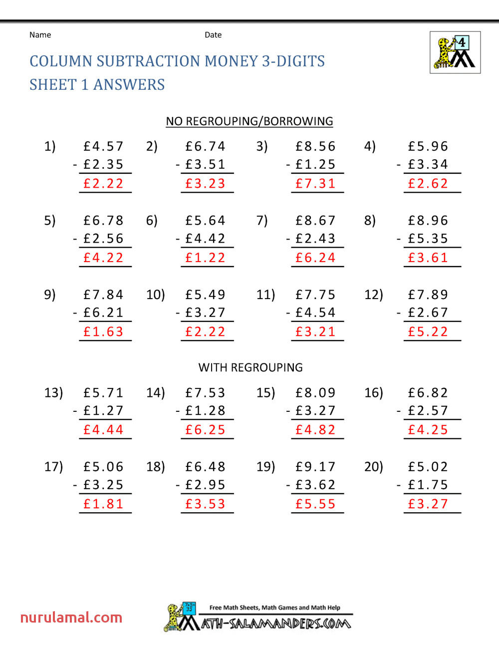 Division Money Worksheets & Division with Cross Cancelling
