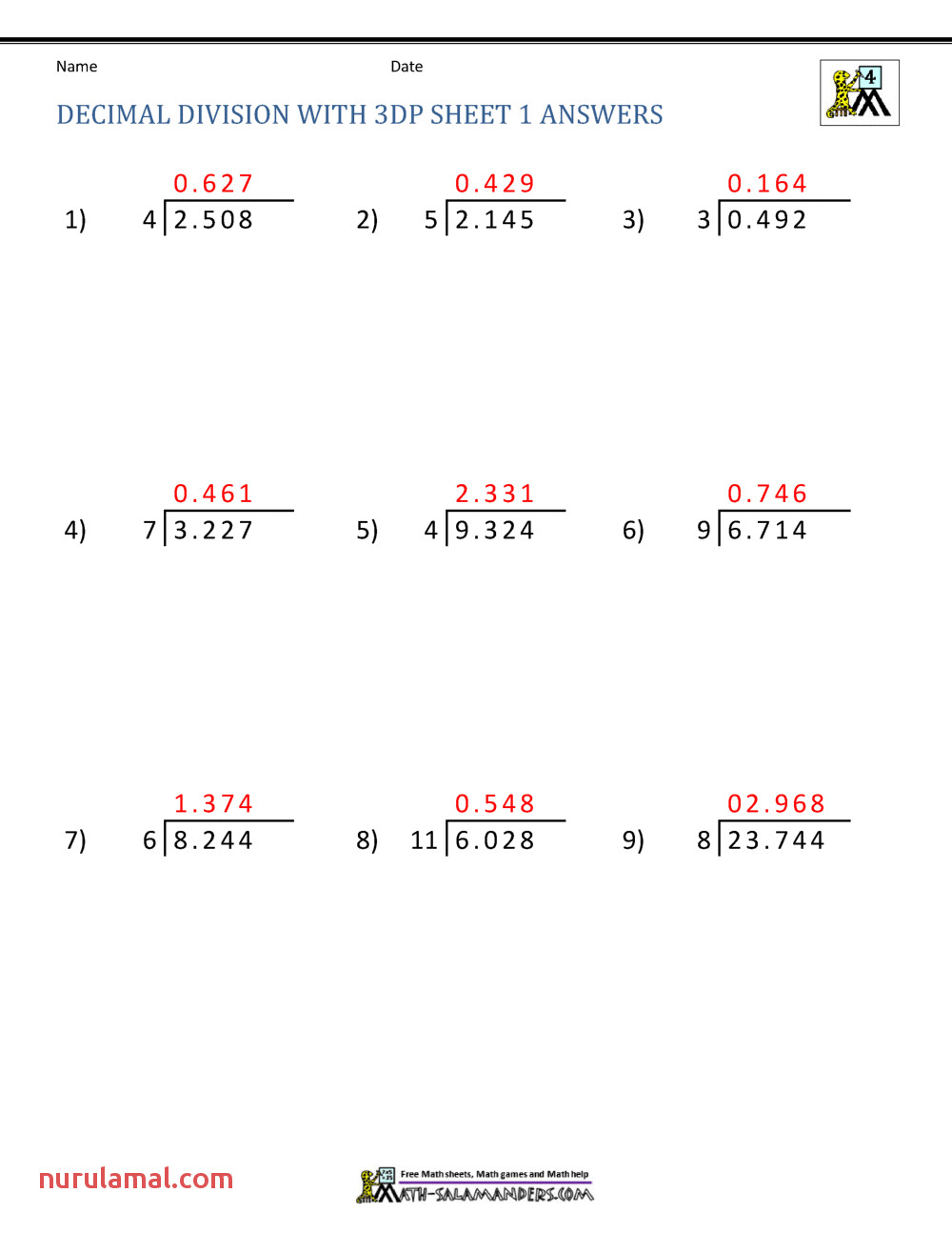 Division Of Decimal Numbers Worksheets