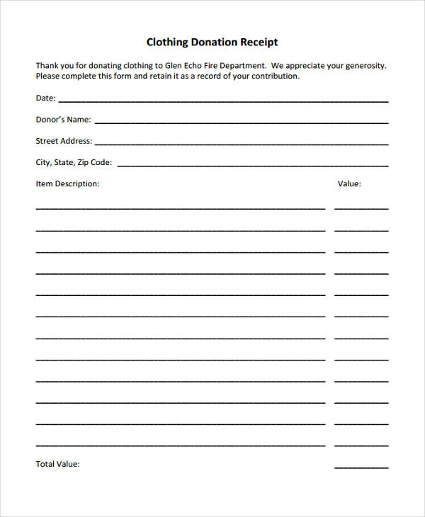 Donation Receipt Form Sample Free Sample Example