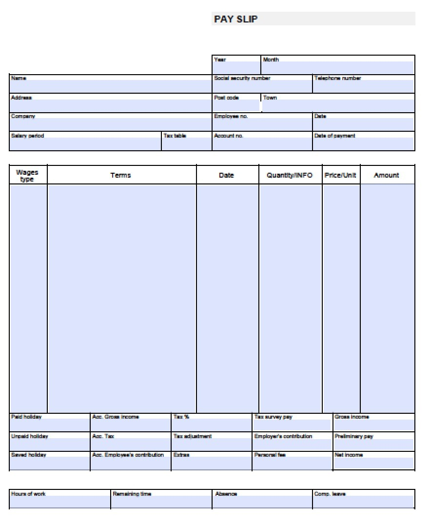 Download Blank Pay Stub Templates Excel Pdf Word