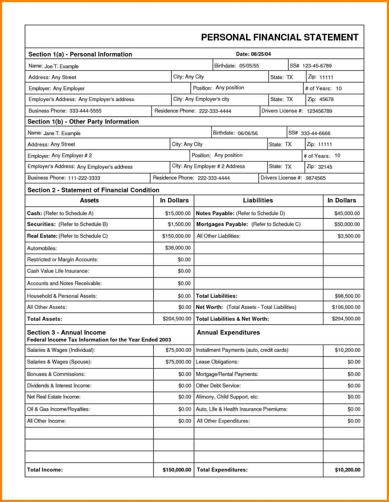 Downloadable Personal Financial Statement Case