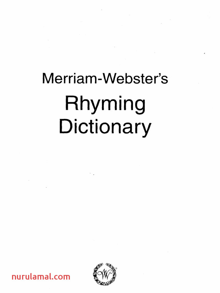 韦伯斯特押韵词典merriam Webster S Rhyming Dictionary
