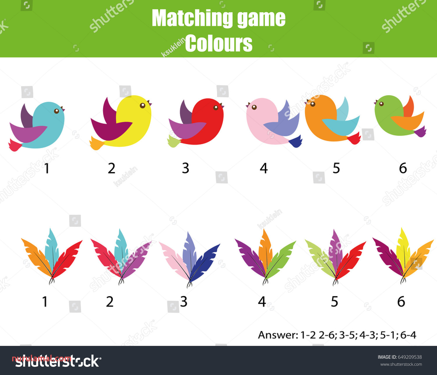 Educational Children Game Matching Game Worksheet Stock