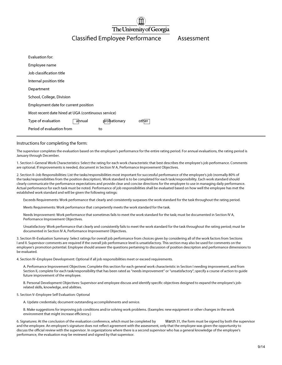 employee evaluation forms performance review examples