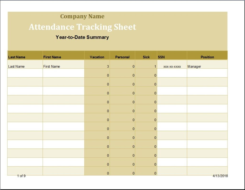 Employee Time And Attendance Sheet Template Word Excel