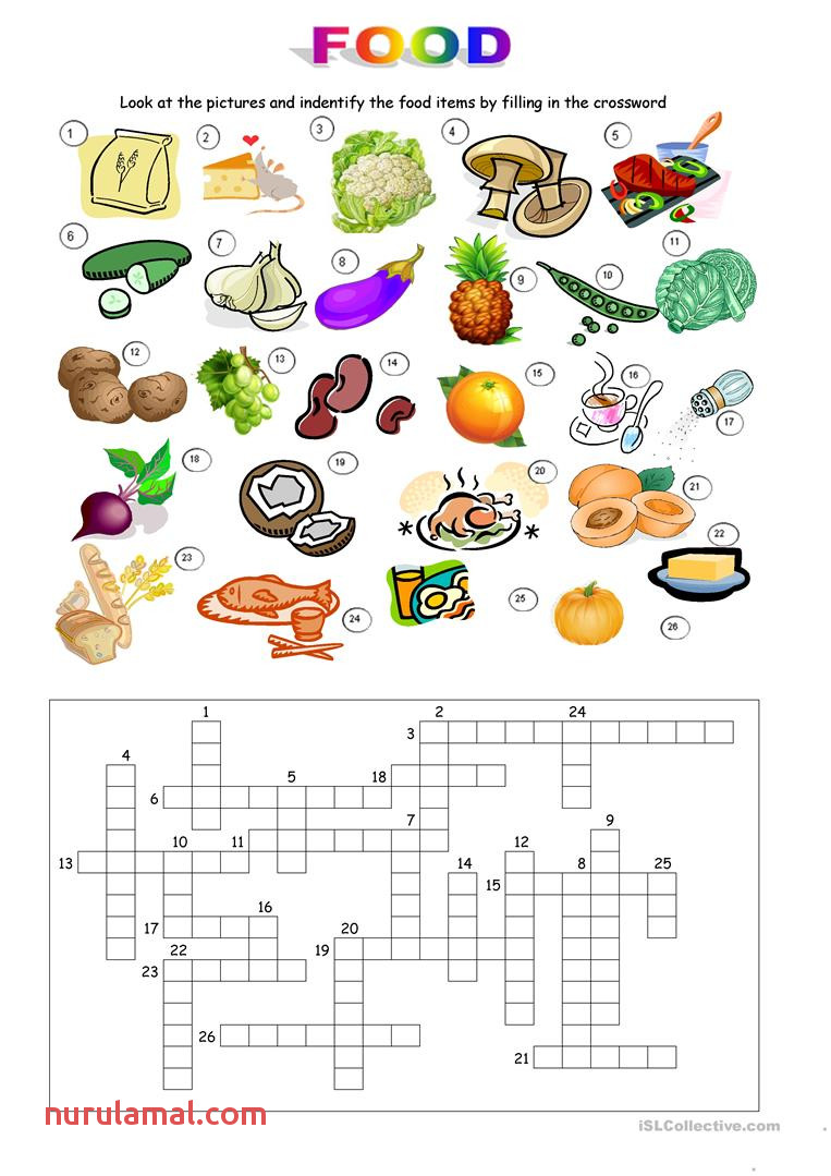 English Esl Food Crossword Worksheets Most Ed 33