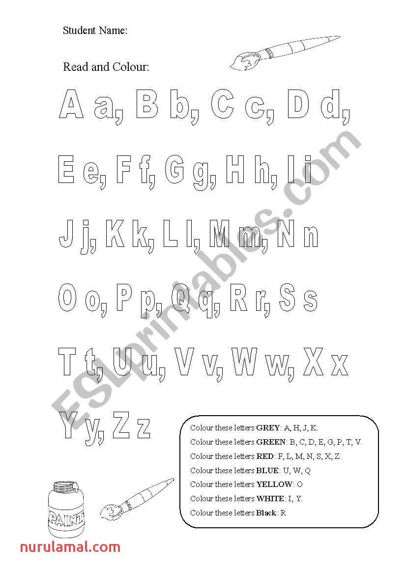 English Worksheets Read and Color the Alphabet
