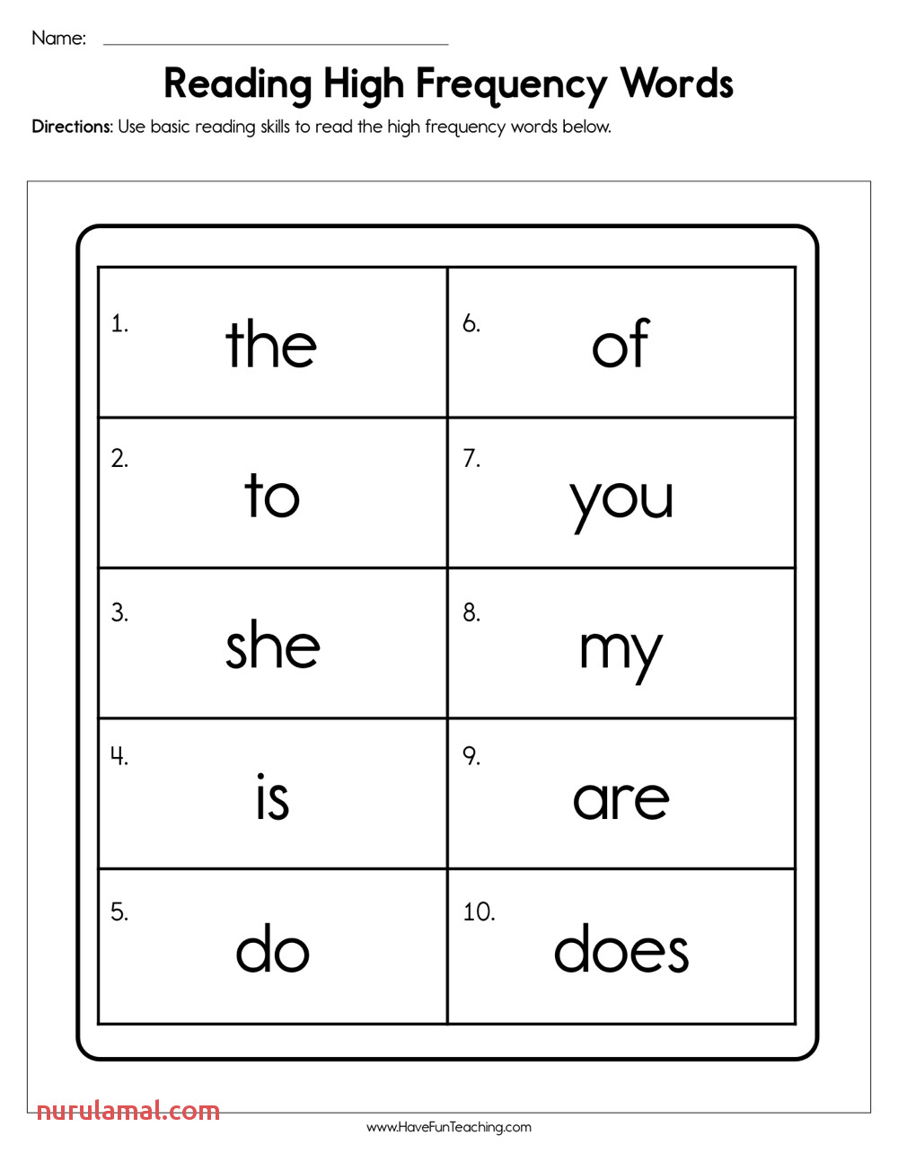 reading high frequency words worksheet have fun with worksheets sight word kindergarten
