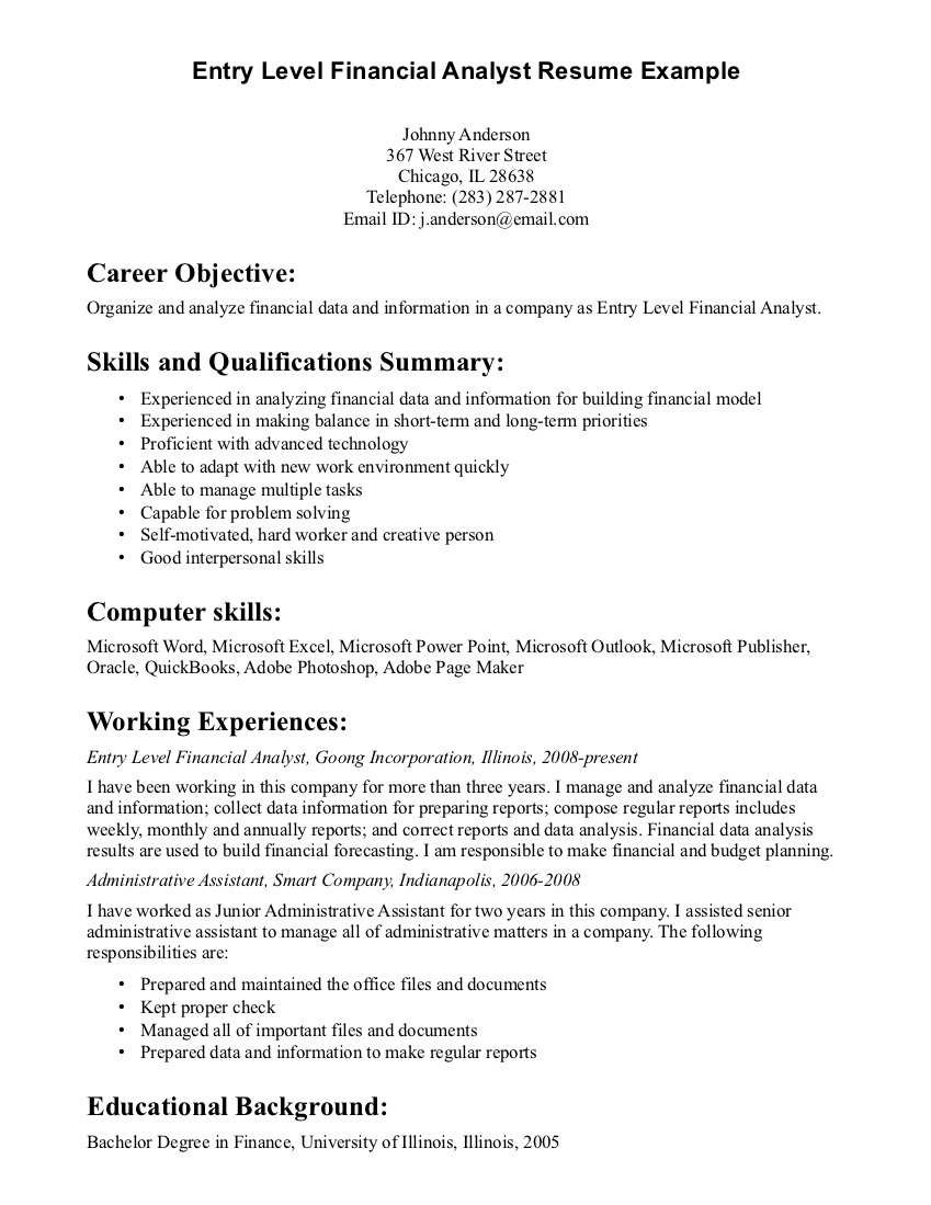 Entry Level Financial Analyst Resume Example Writing Entry