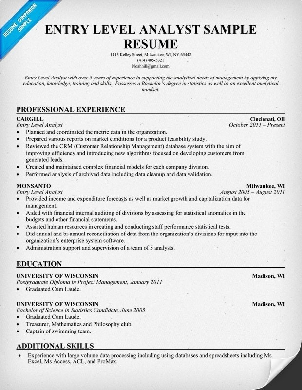 Entry Level Financial Analyst Resume Sample Best