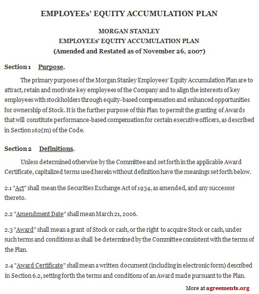 Business Equity Share Agreement Template