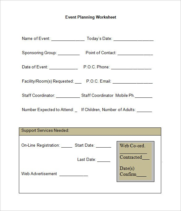 Event Planning Worksheet Templates Free Word
