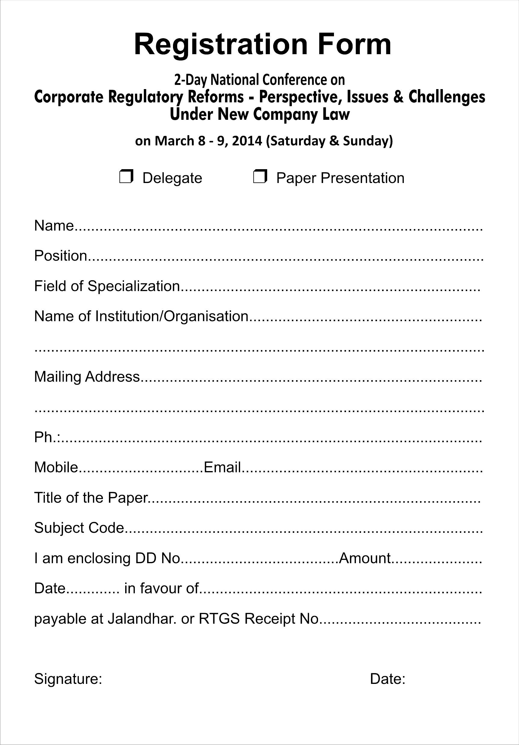 Workshop Registration Form Template