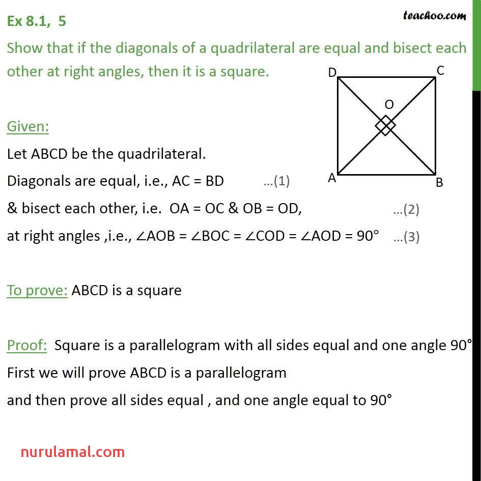 Ex 8 1 5 Show that if Diagonals Of A Quadrilateral are Equal