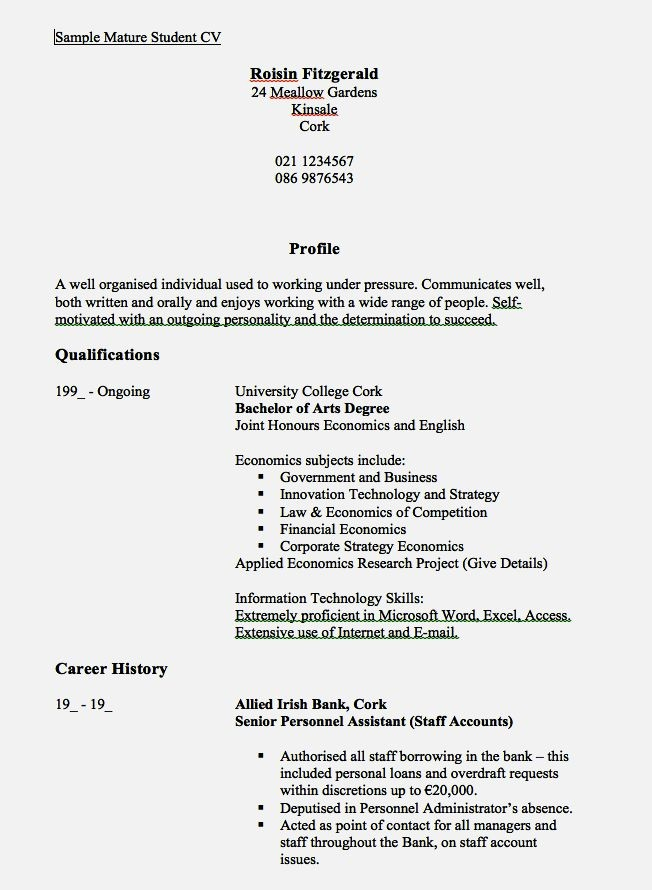 Examples Of A Cv For A Year Old Resume Template