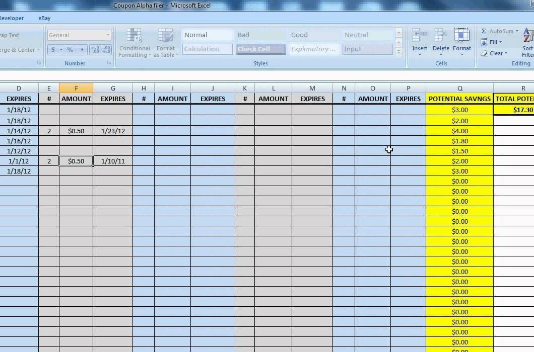 Extreme Couponing Alphabetical Spreadsheet For Coupon