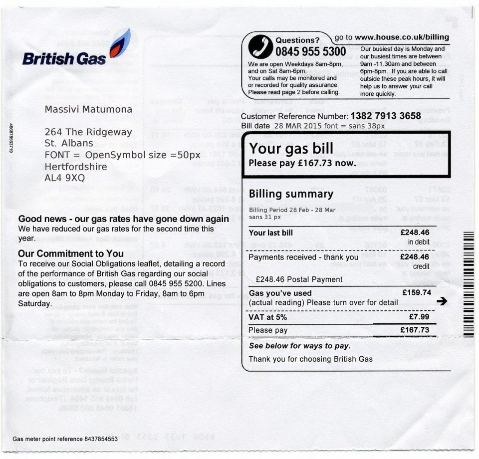Fake Utility Bill Template Free
