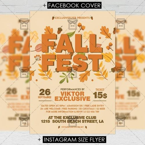 Fall Fest Seasonal A Flyer Template Exclsiveflyer