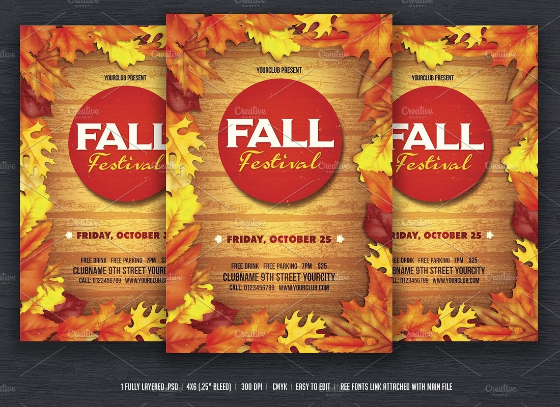 Fall Festival Flyer Flyer Templates Creative Market